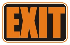 exit signs, exit window signs, exit door signs, exit styrene signs