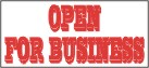 open for business banner, pre printed banners, banners